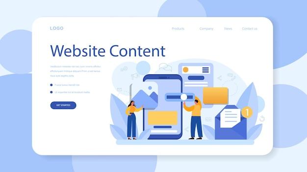 Banner web o pagina di destinazione che riempiono i contenuti