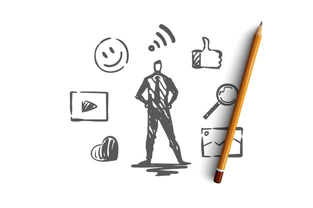 Contenuto, internet, media, strategia, concetto di rete. gestore di contenuti disegnati a mano e simboli dello schizzo del concetto di rete.