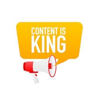 Il contenuto è un testo re con un megafono isolato su bianco