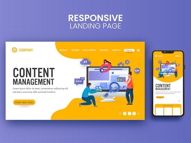 Pagina di destinazione basata sul concetto di gestione dei contenuti con uomini d'affari che lavorano insieme e illustrazione di smartphone.