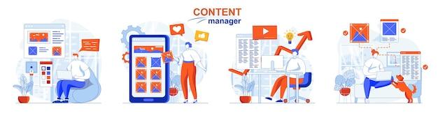 Content manager concept set creazione di testi grafici per siti o applicazioni