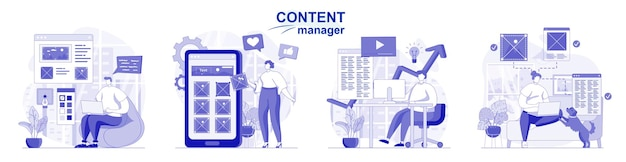 Content manager isolato set in design piatto persone che disegnano immagini e sito di elementi grafici