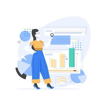 Content manager all'illustrazione disegnata a mano del lavoro, personaggio dei cartoni animati di processi di strategia di gestione della ragazza. lavoratore freelance impegnato con analisi di email marketing