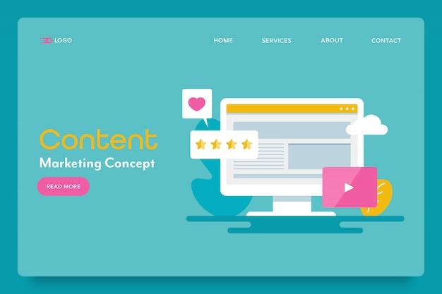 Pagina di destinazione del concetto di content marketing