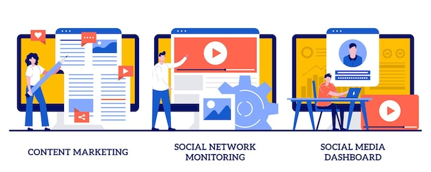 Content marketing, monitoraggio dei social network, dashboard dei social media con persone minuscole