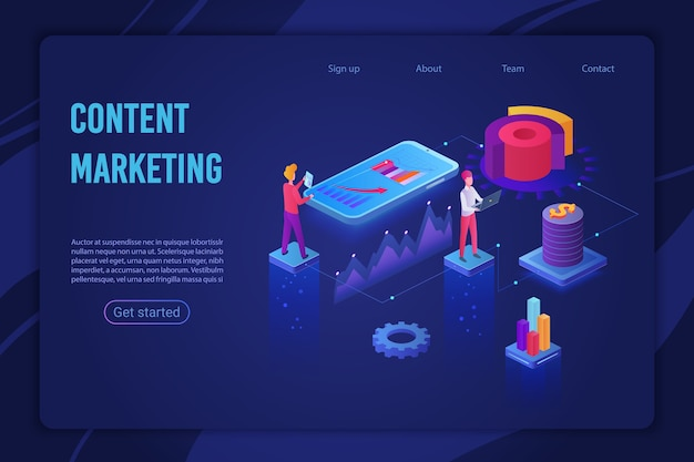 Pagina di destinazione della luce ultravioletta della strategia di marketing dei contenuti