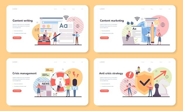 Banner web di content marketing o set di pagine di destinazione