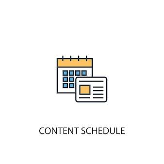 Concetto di pianificazione dei contenuti 2 icona linea colorata. illustrazione semplice dell'elemento giallo e blu. contenuto programma concetto contorno simbolo design
