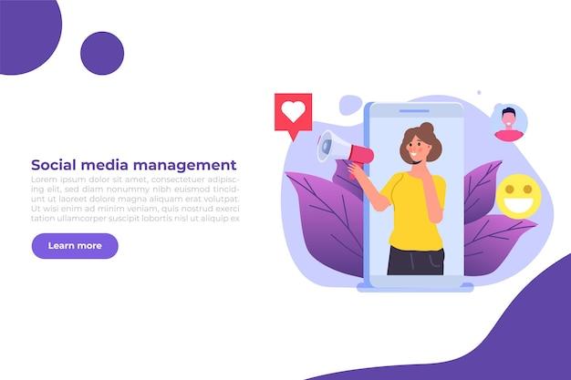 Concetto di processi di strategia di gestione del contenuto smm. illustrazione vettoriale piatto.