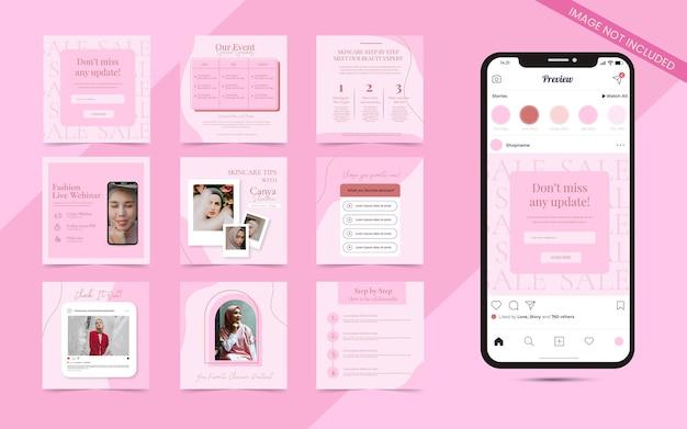 Contenuto dei social media per blogger di bellezza e concetto di cura dei cosmetici social media post storie modello di banner