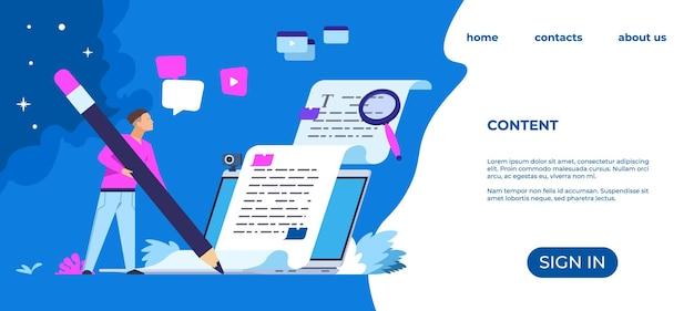Pagina di destinazione dello scrittore di contenuti. articoli del blog e concetto di creazione di media