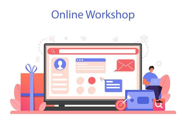Servizio o piattaforma online di pubblicità contestuale. campagna di marketing e pubblicità sui social network. workshop online.
