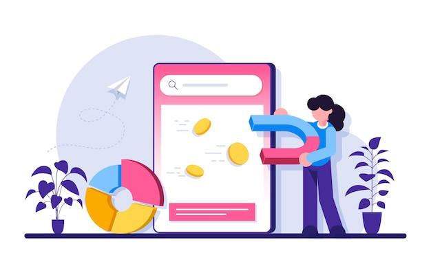 Servizio o piattaforma online di pubblicità contestuale. la donna con un magnete attrae le monete.