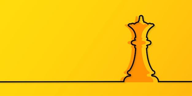 Disegno a tratteggio continuo della regina degli scacchi su sfondo giallo
