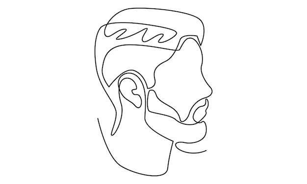 Illustrazione del viso astratto di linea continua