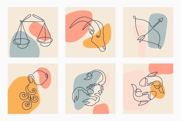 Segni zodiacali arte linea continua.