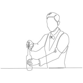 Linea continua di vettore di bottiglia di vino di apertura del barista