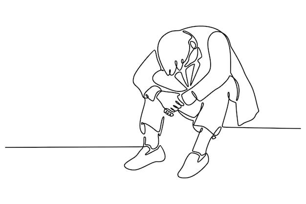 Linea continua di capo seduto guardando in basso vertigini di fronte al lavoro solido illustrazione vettoriale