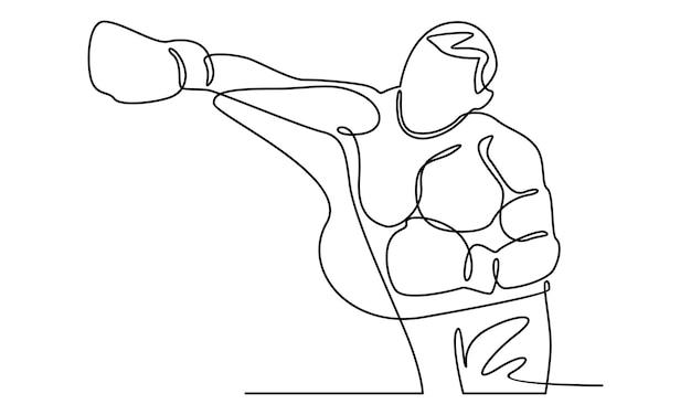 Linea continua di illustrazione del personaggio di boxe