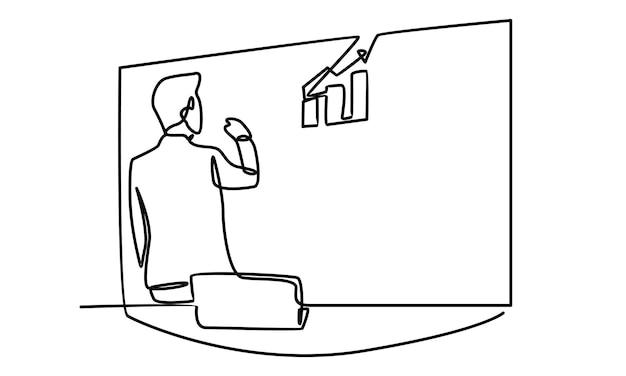 Linea continua di consulente aziendale che mostra le attività del consiglio di amministrazione di pianificazione all'illustrazione del seminario aziendale