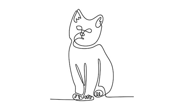 Linea continua di illustrazione del gatto