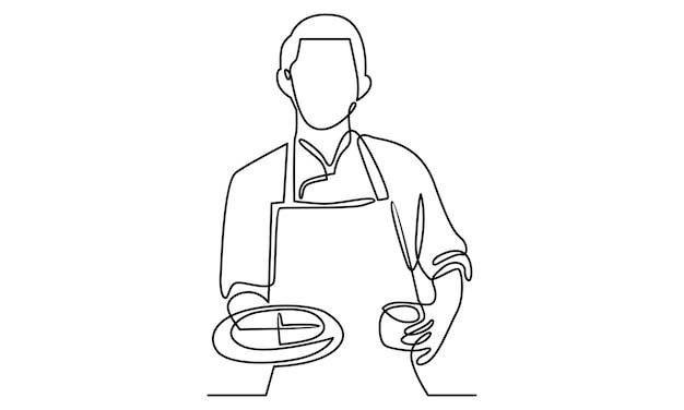 Linea continua di chef che tiene un vassoio con l'illustrazione della pizza
