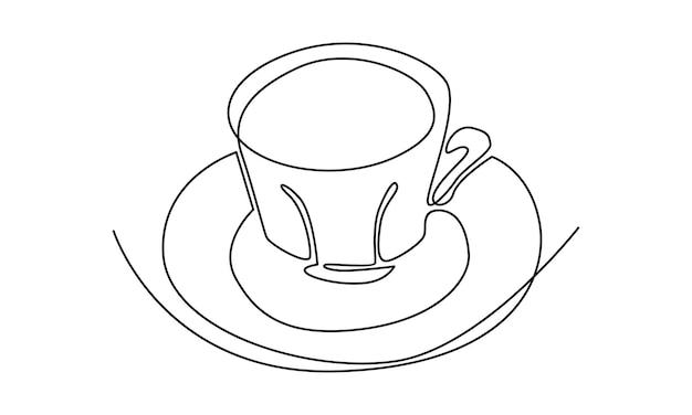Linea continua di un'illustrazione della tazza di caffè