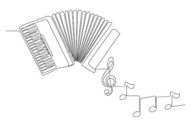 Disegno a tratteggio continuo di uno strumento musicale a fisarmonica con l'illustrazione di vettore delle note dello strumento