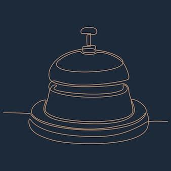 Disegno a tratteggio continuo dell'illustrazione di vettore della campana antica