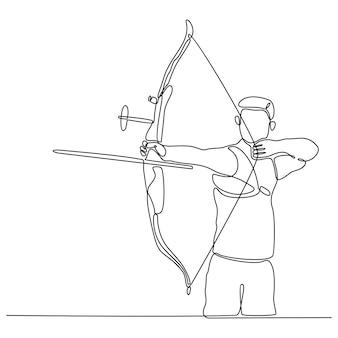 Disegno a tratteggio continuo dell'illustrazione vettoriale di sport di tiro con l'arco