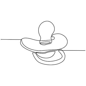 Disegno a tratteggio continuo dell'illustrazione vettoriale del ciuccio del latte per bambini