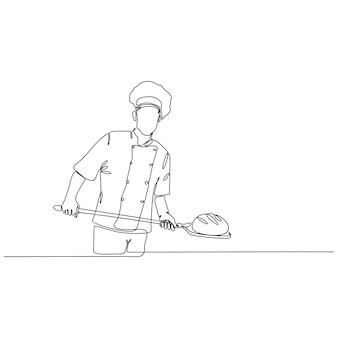 Disegno a tratteggio continuo dell'uomo fornaio che cucina il pane vettore