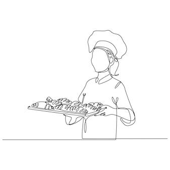 Disegno a tratteggio continuo del vettore dell'uomo del panettiere