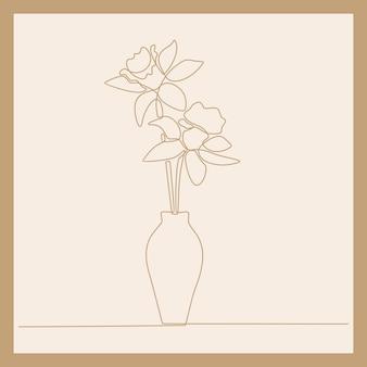 Disegno a tratteggio continuo di un bellissimo fiore rosa fresco sull'illustrazione vettoriale di un vaso di porcellana