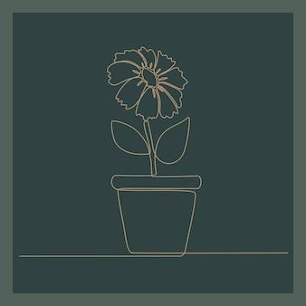 Disegno a tratteggio continuo di bella rosa fresca sull'illustrazione di vettore del vaso