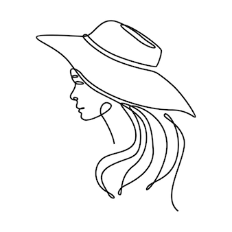 Disegno a tratteggio continuo di una bella faccia di donna che indossa un'illustrazione vettoriale di un cappello da spiaggia