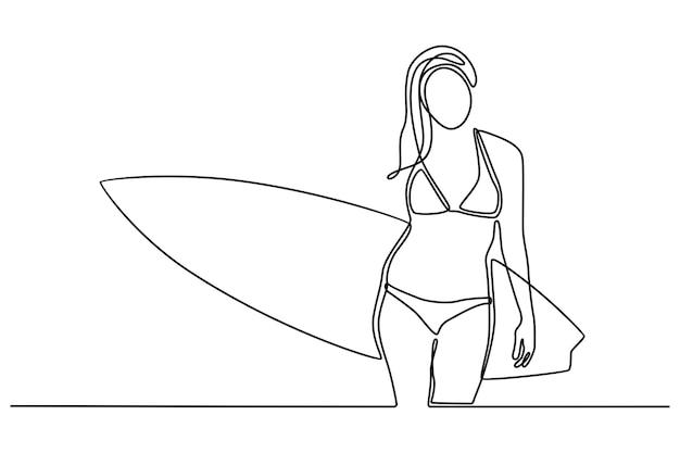 Disegno a tratteggio continuo di bella ragazza surfista giovane donna in bikini con tavola da surf sulla spiaggia