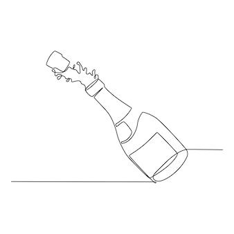Illustrazione di vettore di concetto di festa di alcol bottiglia di birra disegno a tratteggio continuo