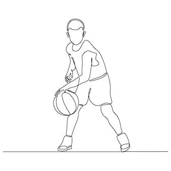 Disegno a tratteggio continuo del giocatore di basket professionista del ragazzo isolato con il concetto di forma fisica della palla