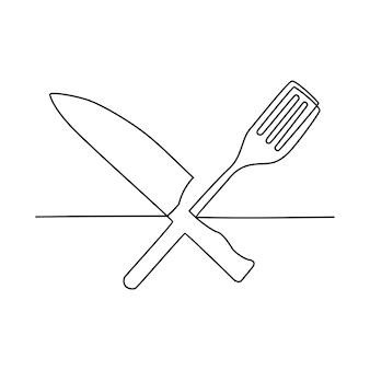 Disegno a tratteggio continuo del menu della colazione che serve carne con illustrazione vettoriale di forchetta e coltello