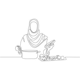 Disegno a tratteggio continuo della carne del menu della colazione che serve con l'illustrazione vettoriale di forchetta e coltello