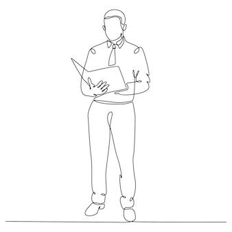 Disegno a tratteggio continuo dell'uomo d'affari in piedi che legge l'illustrazione vettoriale del documento aziendale