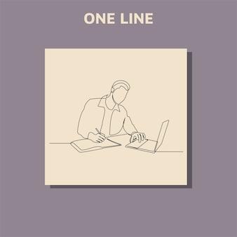 Disegno di linea continuo dell'uomo d'affari con i laptop.