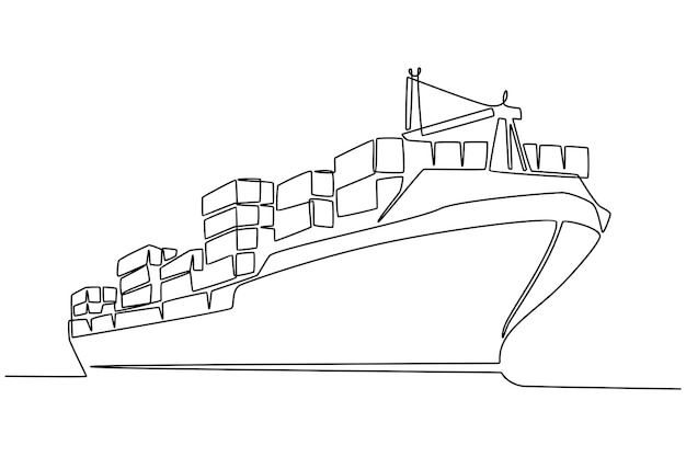 Disegno in linea continuo dell'illustrazione vettoriale della nave da carico
