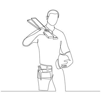 Disegno a tratteggio continuo del falegname che tiene il casco e la cornice isolati su sfondo bianco vettore