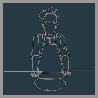 Disegno a tratteggio continuo dello chef che fa l'illustrazione vettoriale della pasta