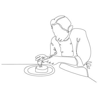 Disegno a tratteggio continuo di uno chef che prepara il cibo vettore