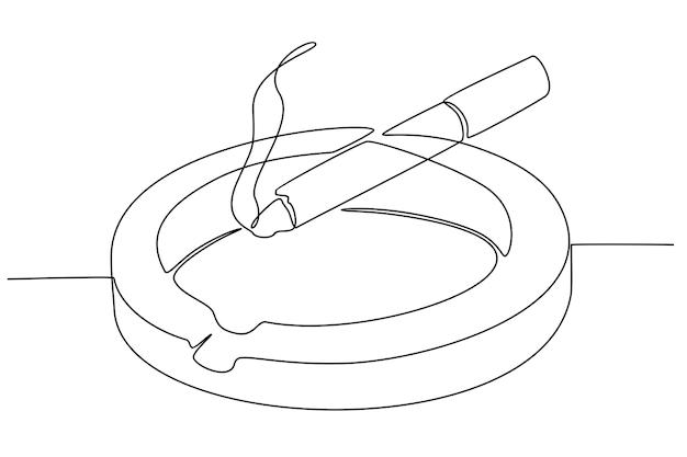 Disegno a tratteggio continuo della sigaretta sull'illustrazione di vettore del posacenere