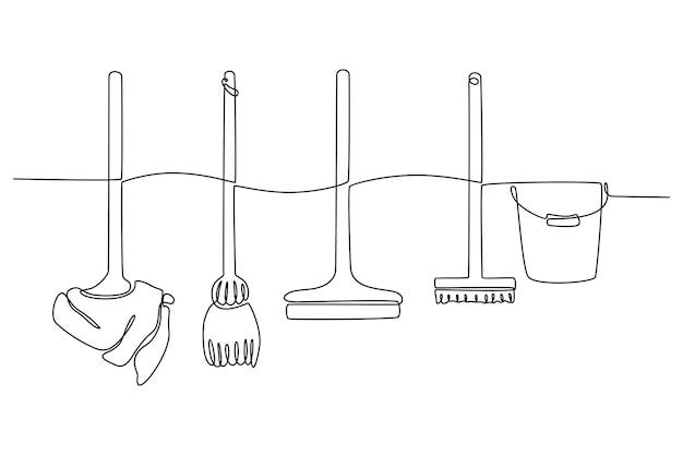 Disegno a tratteggio continuo dell'illustrazione vettoriale degli strumenti di pulizia