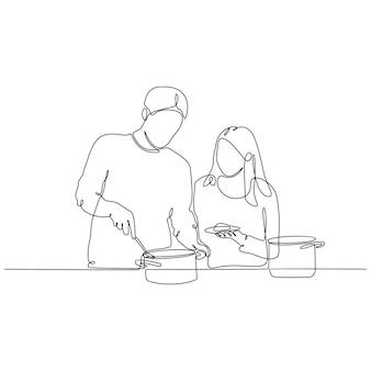 Disegno a tratteggio continuo di persone che cucinano con attività felici disegnate a mano durante la famiglia